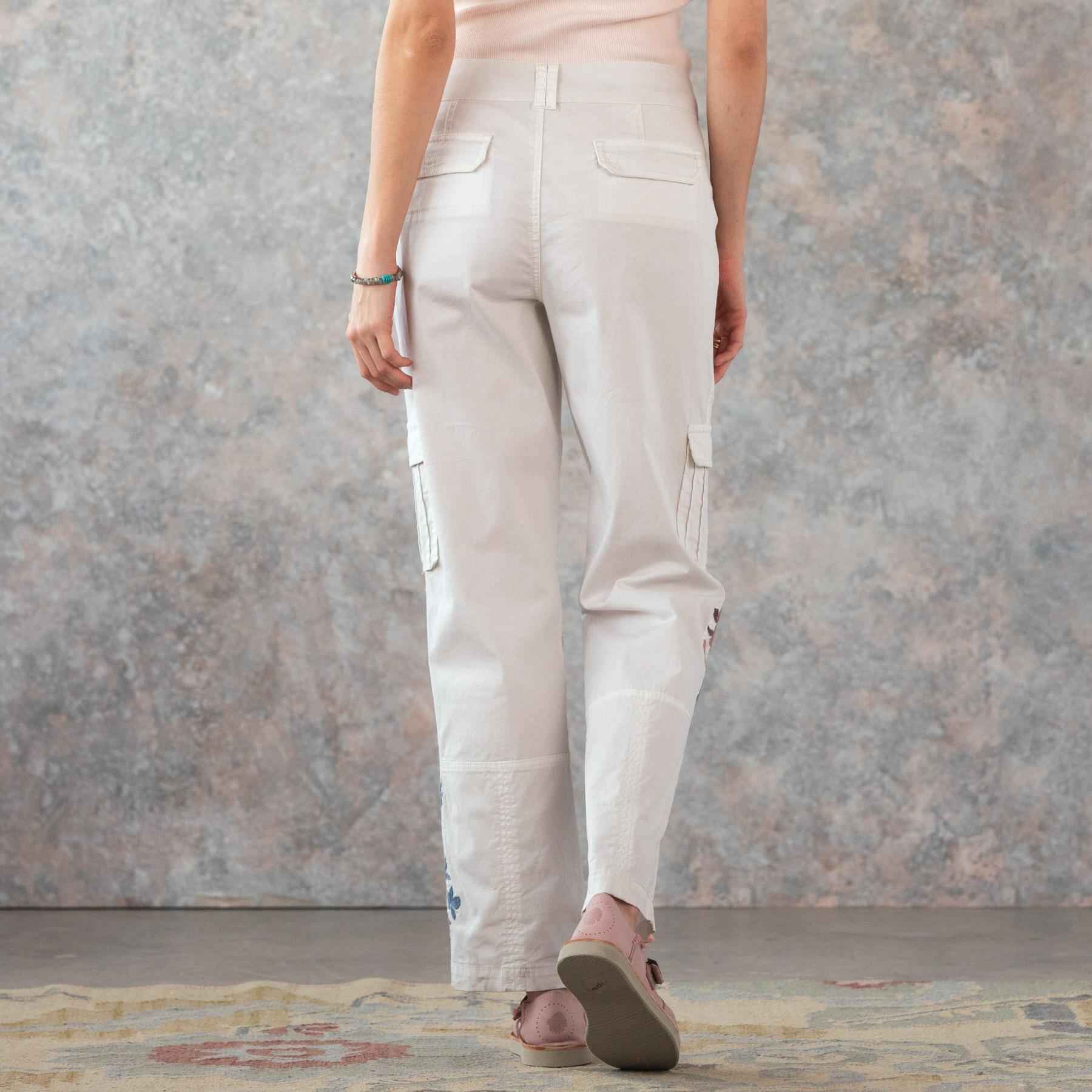 BLOOM EMBROIDERED CARGO PANTS - PETITES: View 3