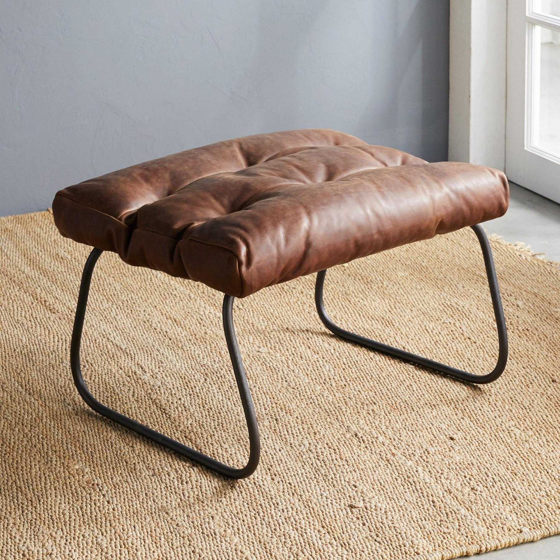 BUCHANAN LEATHER OTTOMAN: View 2