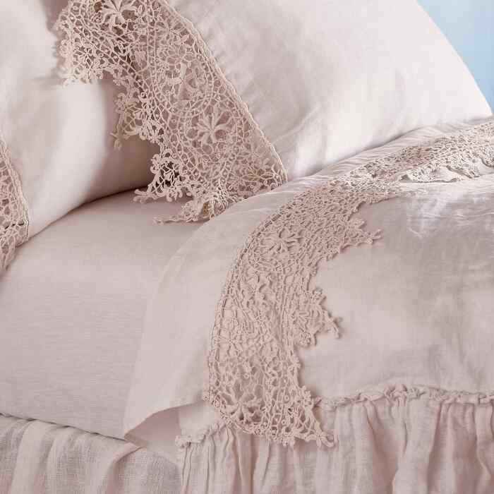 Gossamer Linen Lace Flat Sheet
