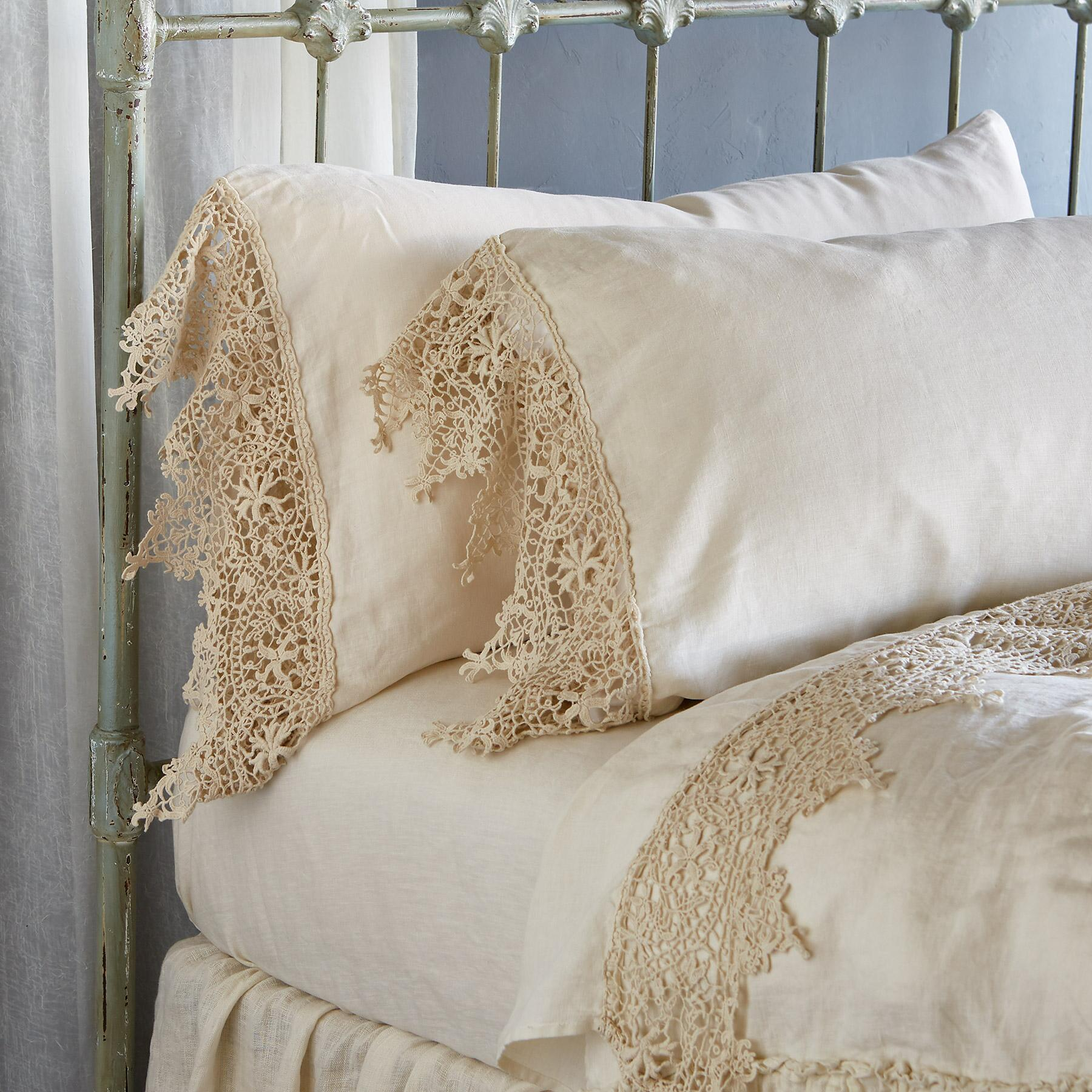 Gossamer Linen Lace Pillowcase: View 1