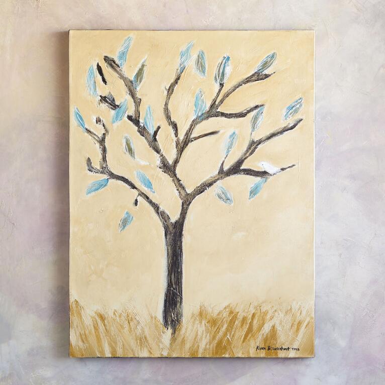 SINGING BIRD IN TREE PAINTING