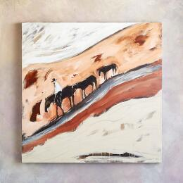 RIDER & THREE HORSES PAINTING