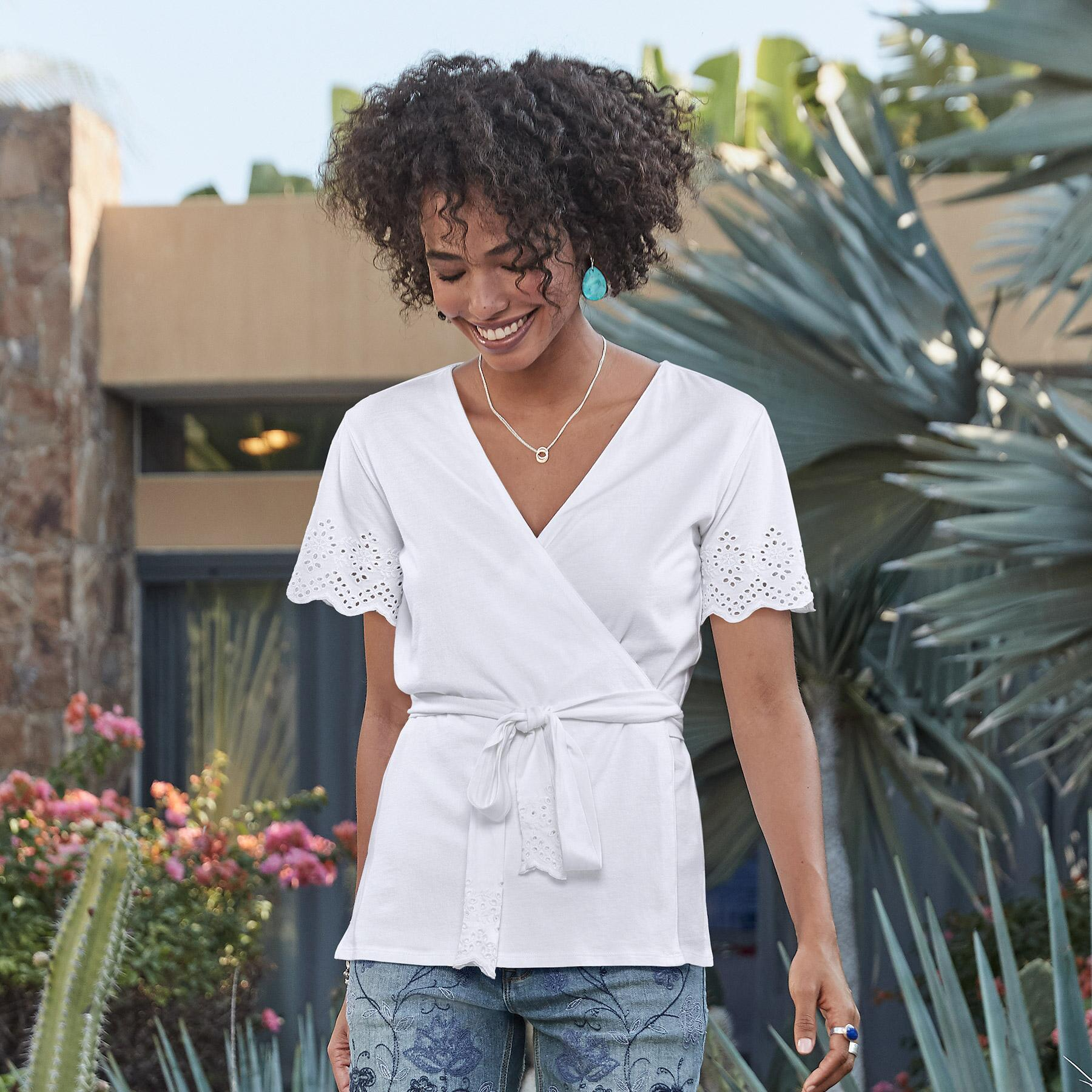 SUMMER BREEZE WRAP TEE PETITE: View 1