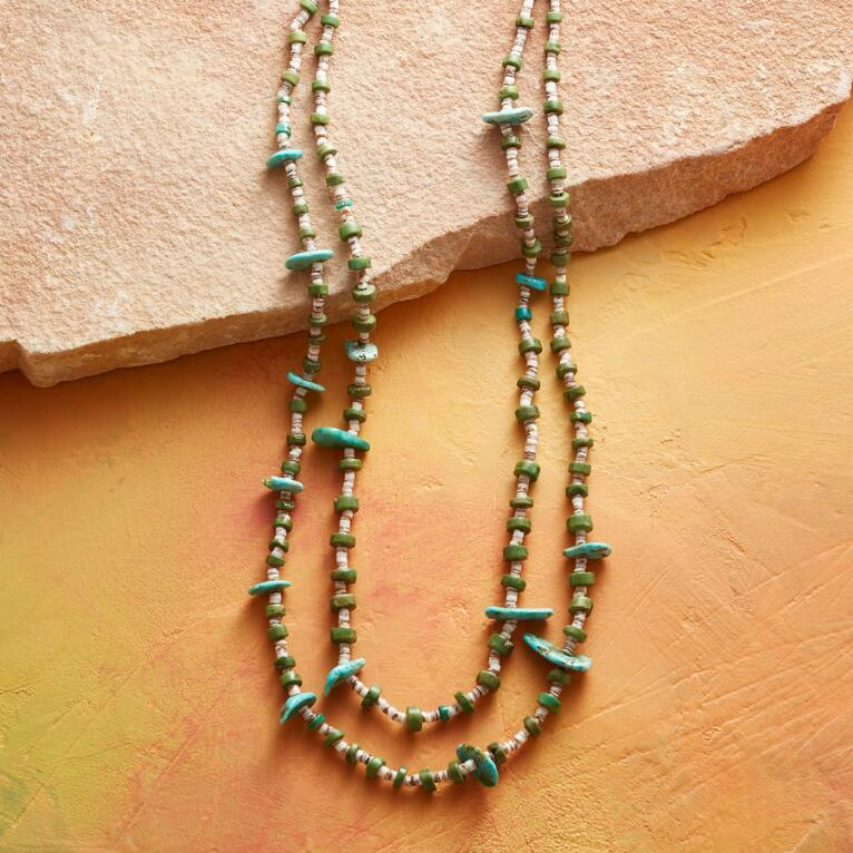 1920S TURQUOISE TAB NECKLACE