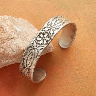 TEXAS ROSE STAMPED STERLING CUFF
