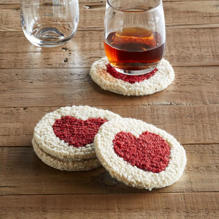 HEART COASTERS, SET OF 4
