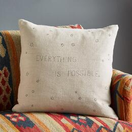 STONEWASH LINEN EVERYTHING IS POSSIBLE PILLOW