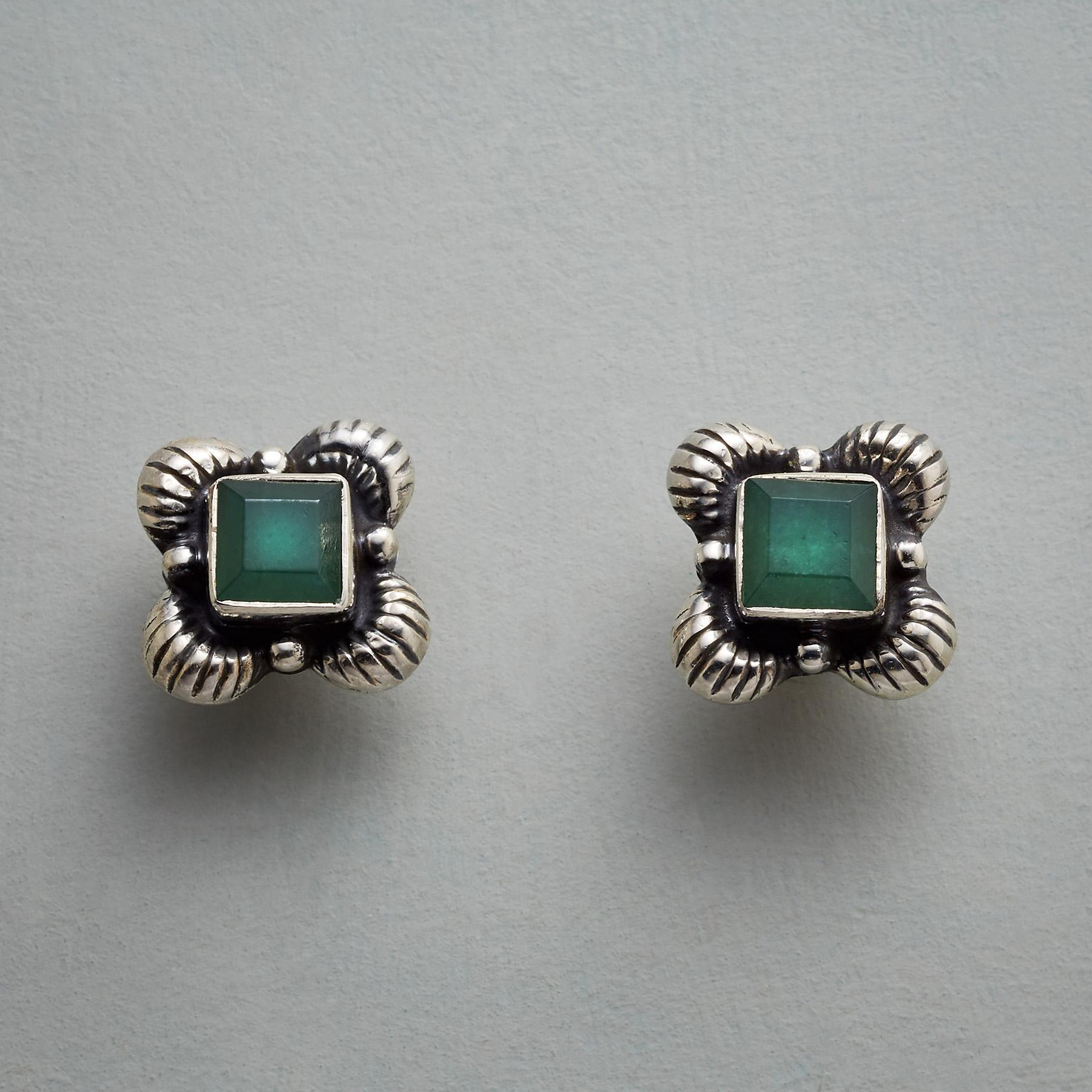 FRAMED JADE EARRINGS: View 1