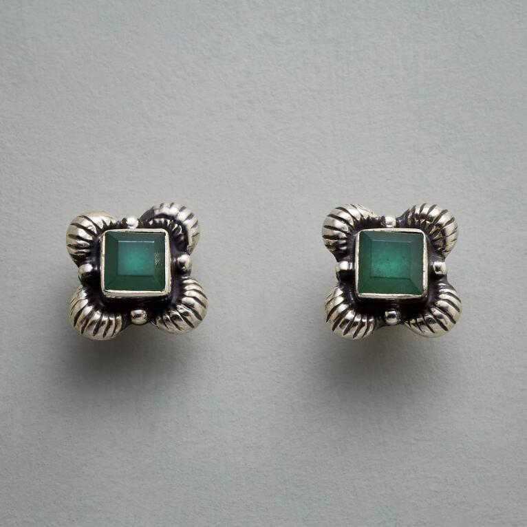 FRAMED JADE EARRINGS