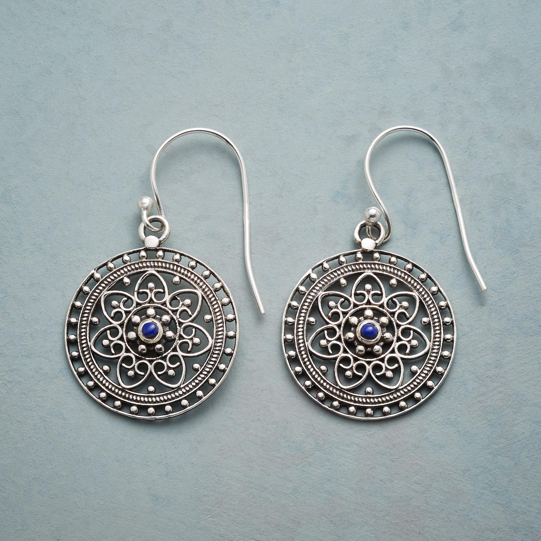 SILVER & BLUE FILIGREE EARRINGS: View 1