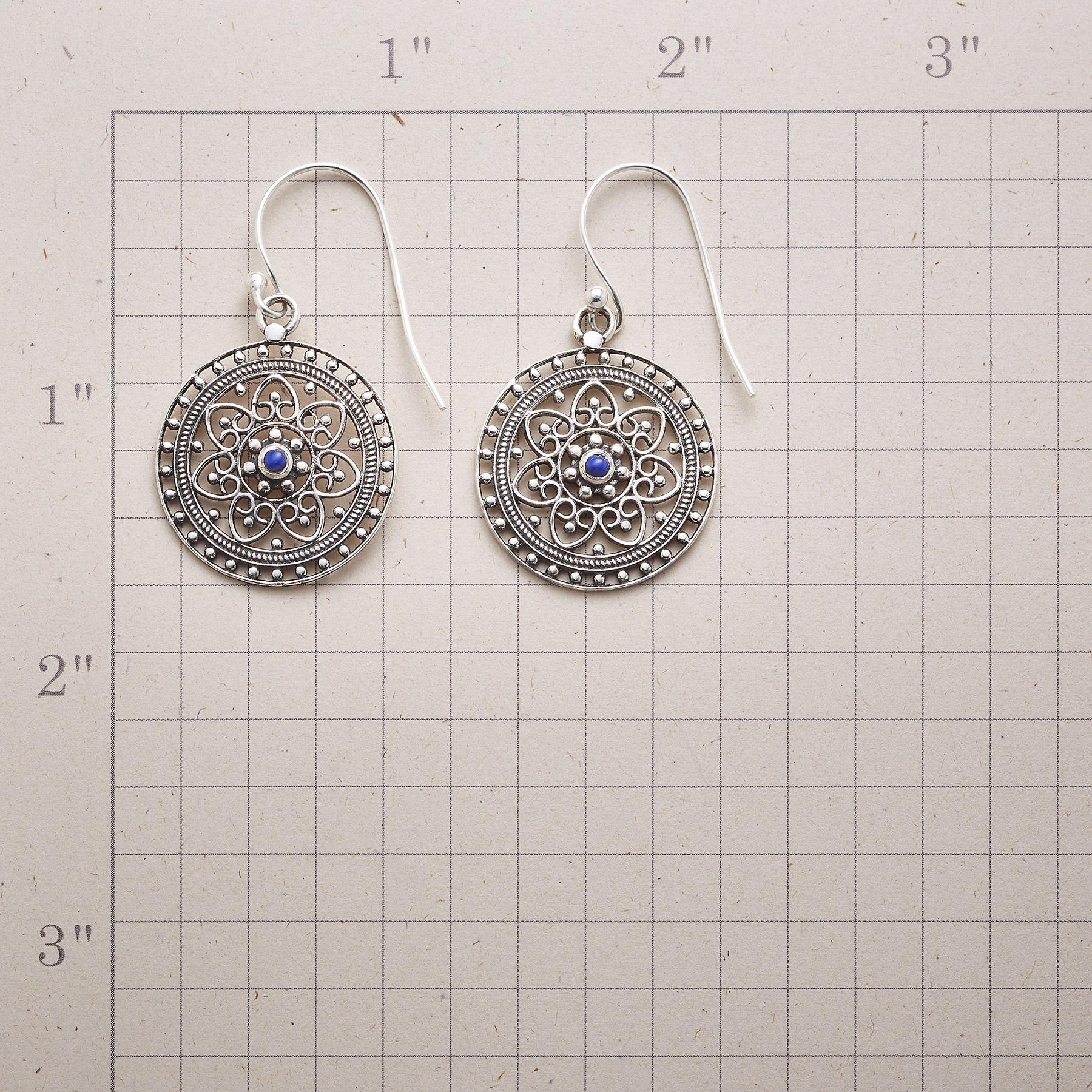 SILVER & BLUE FILIGREE EARRINGS: View 2