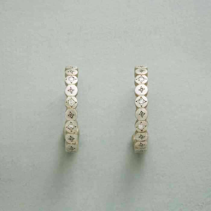 DIAMOND STARDUST HOOP EARRINGS