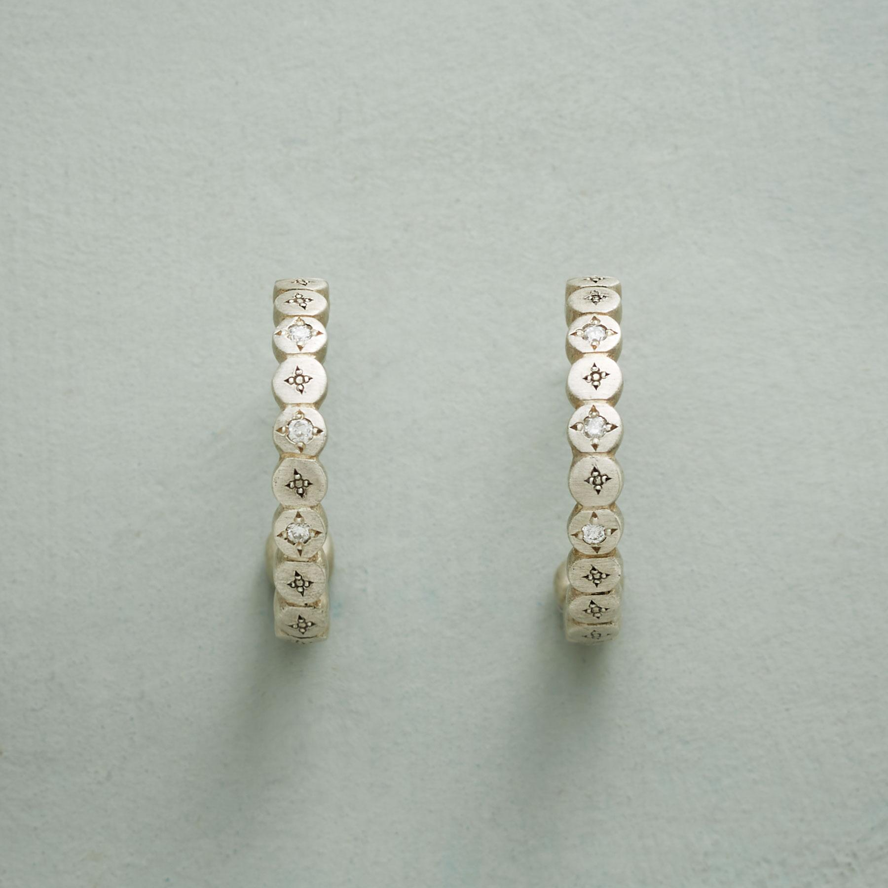 DIAMOND STARDUST HOOP EARRINGS: View 1