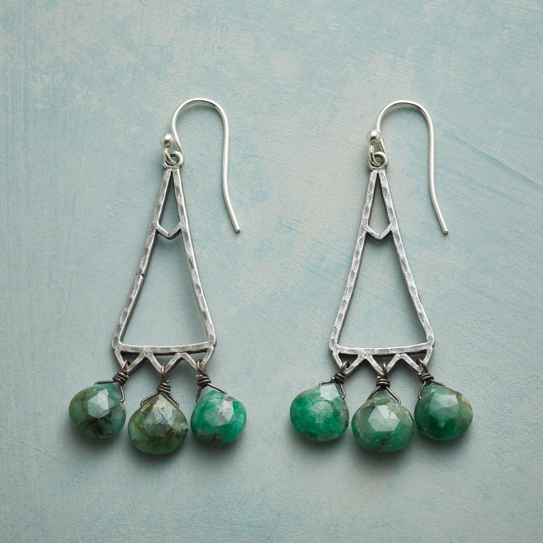 EMERALD TRIANGLE EARRINGS: View 1
