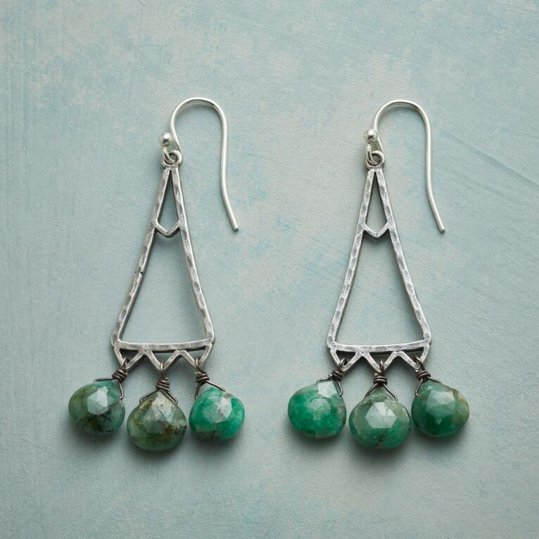 EMERALD TRIANGLE EARRINGS