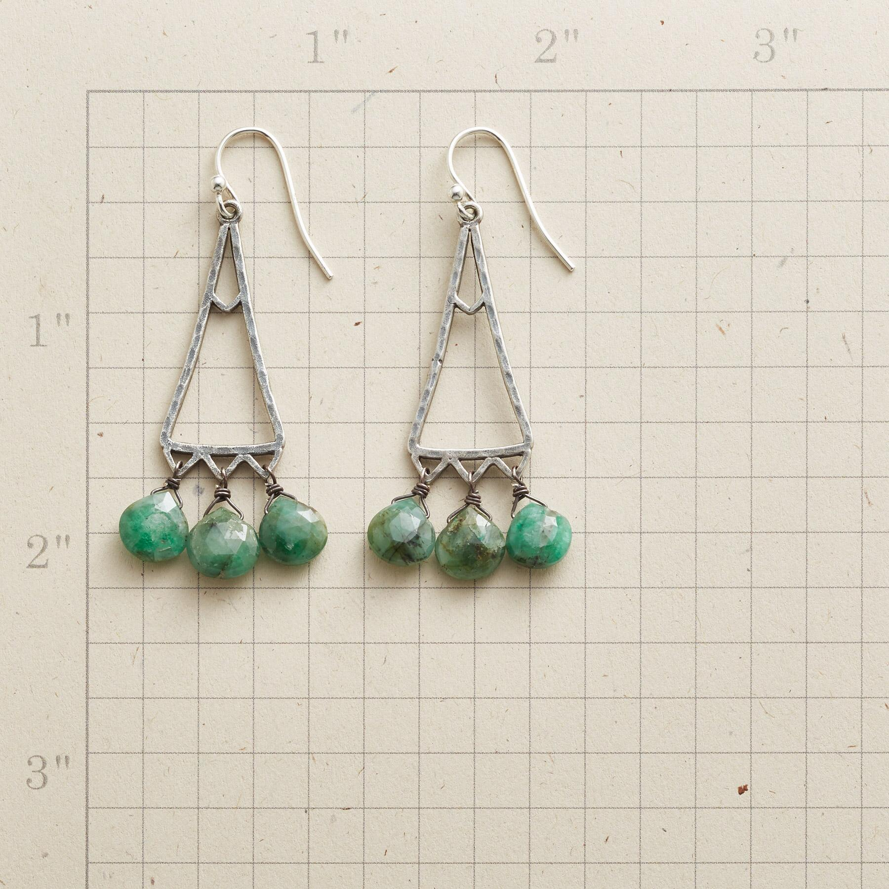 EMERALD TRIANGLE EARRINGS: View 2