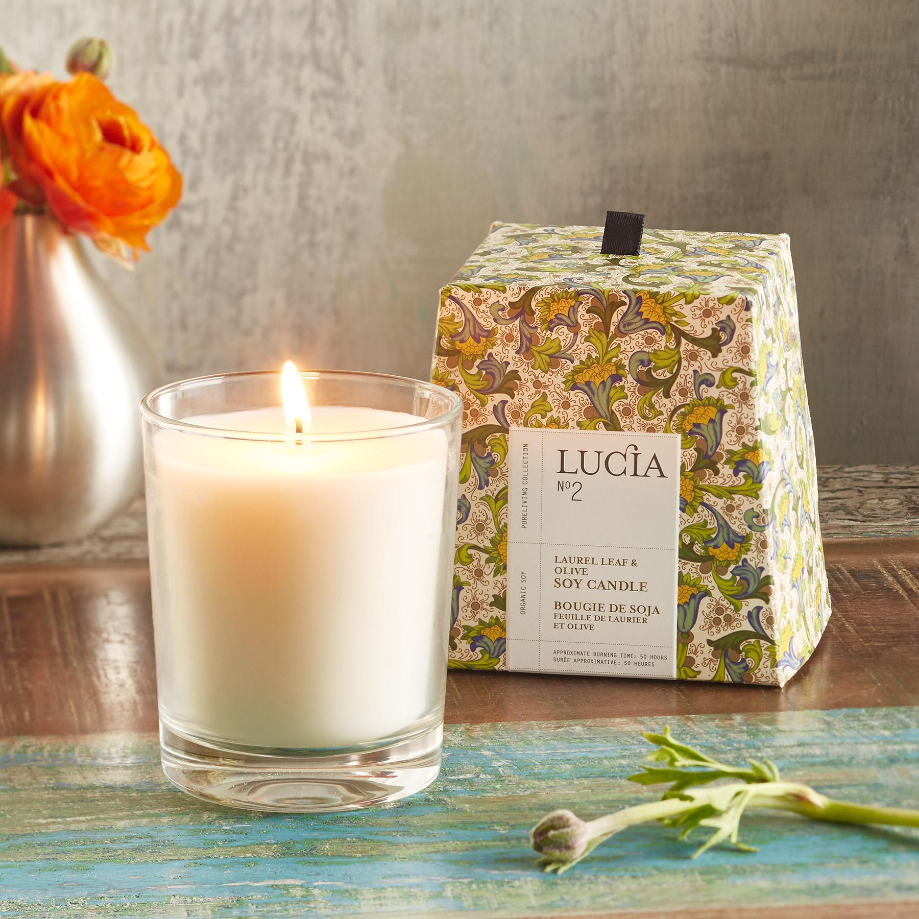 LUCIA® LAUREL & OLIVE CANDLE: View 1
