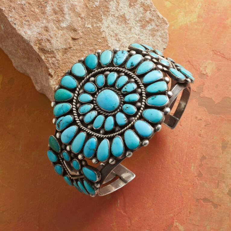 1940S PETIT POINT TURQUOISE CUFF