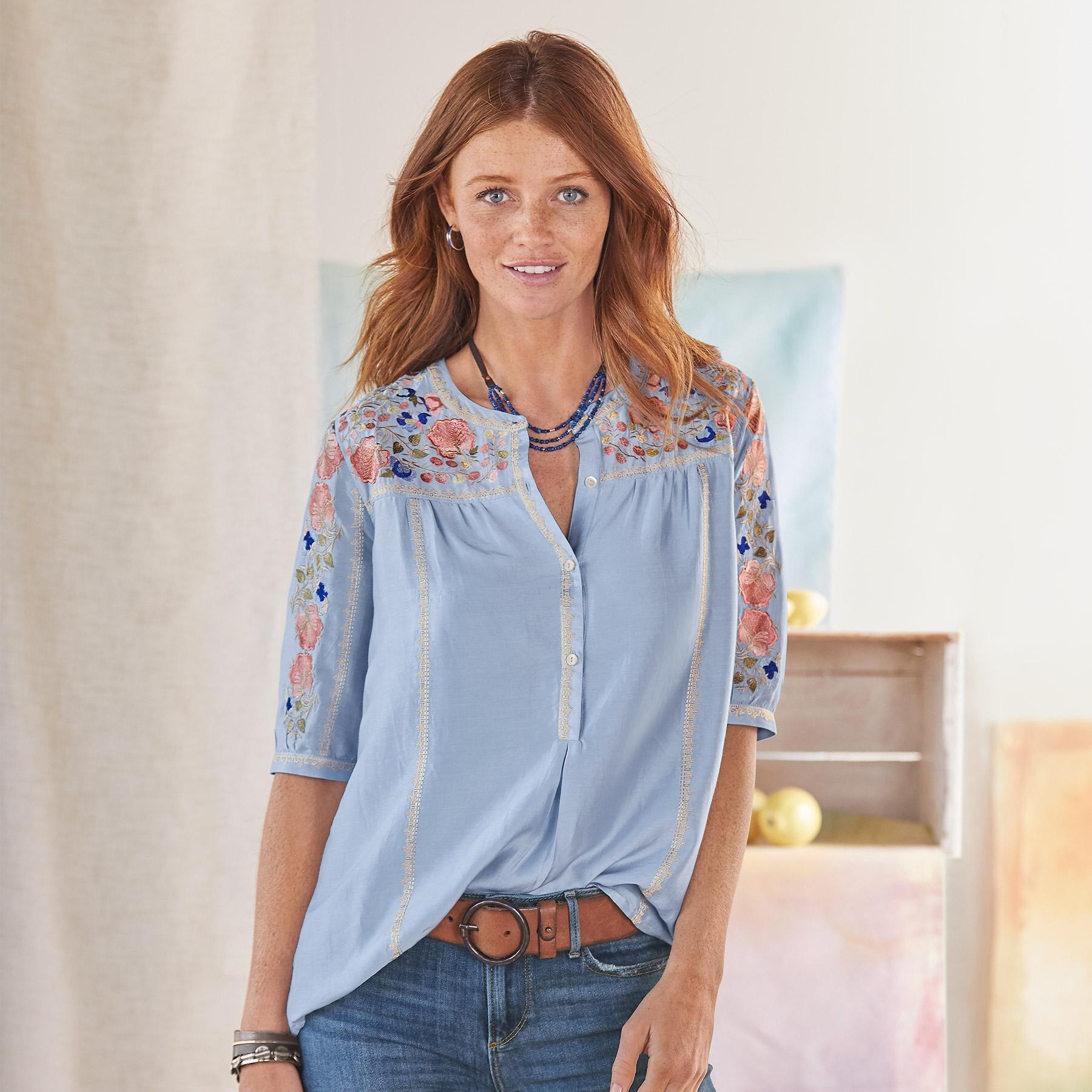GISELA EMBROIDERED TOP: View 1