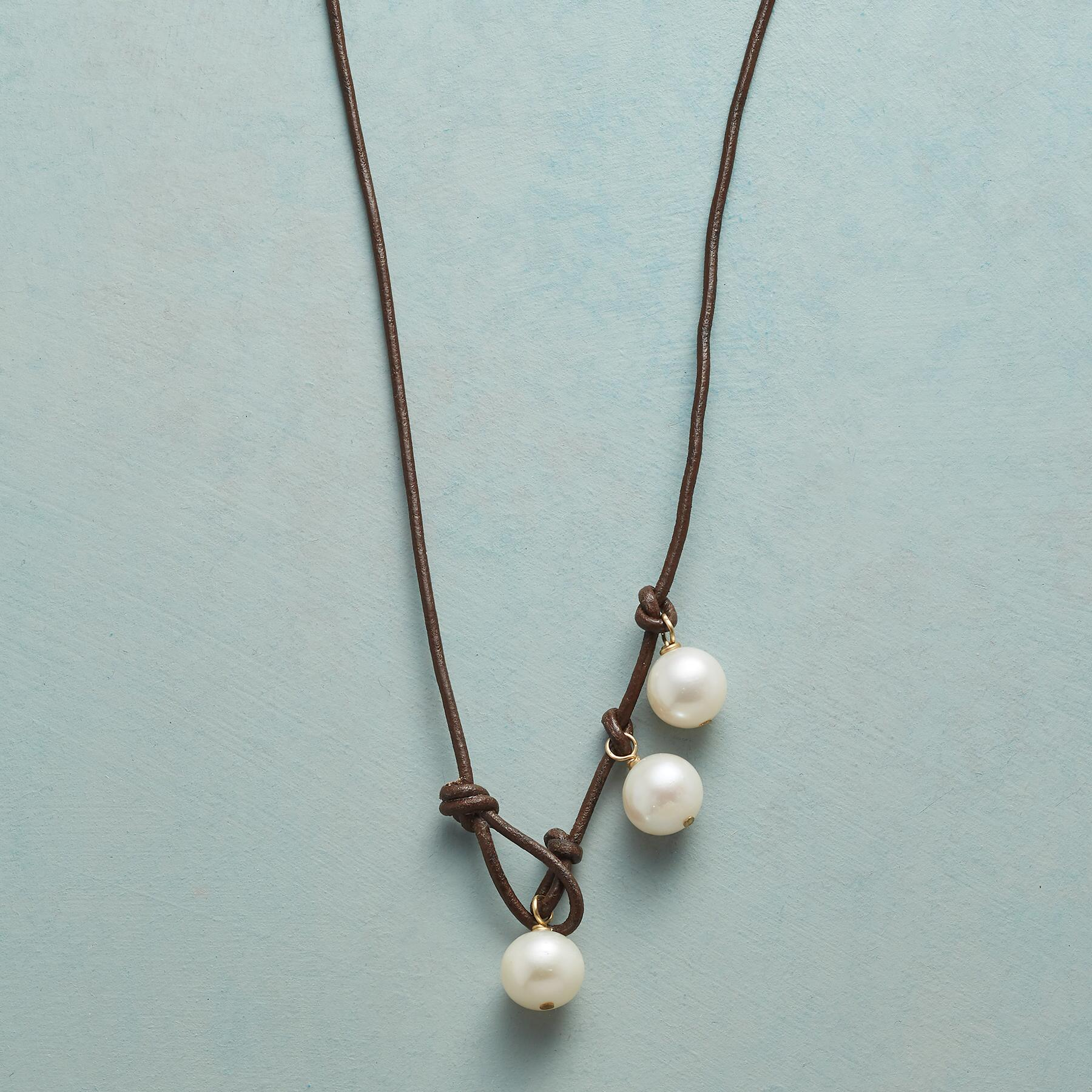PEARL TRINITY LARIAT NECKLACE: View 1