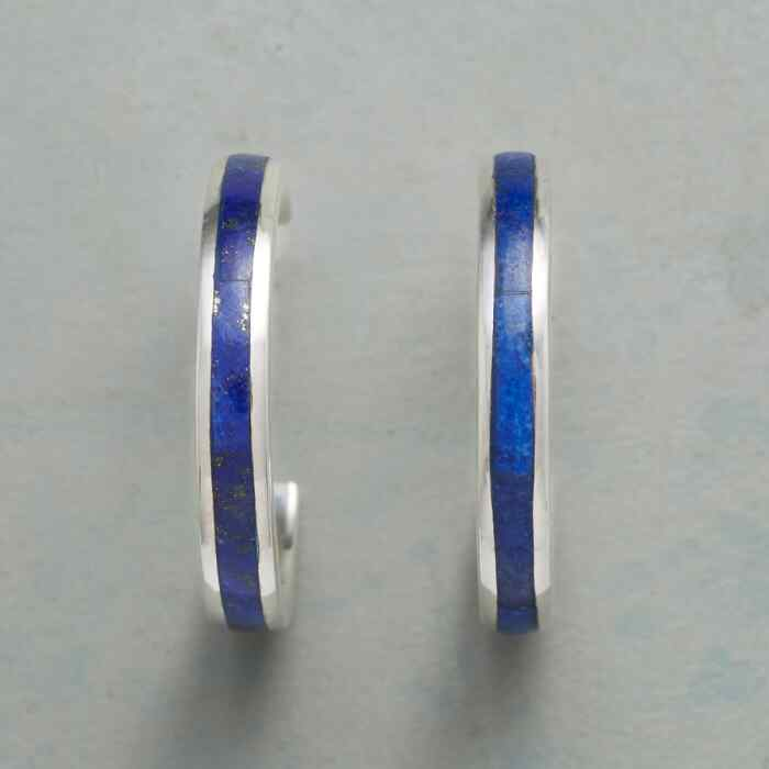 LINE OF LAPIS HOOP EARRINGS