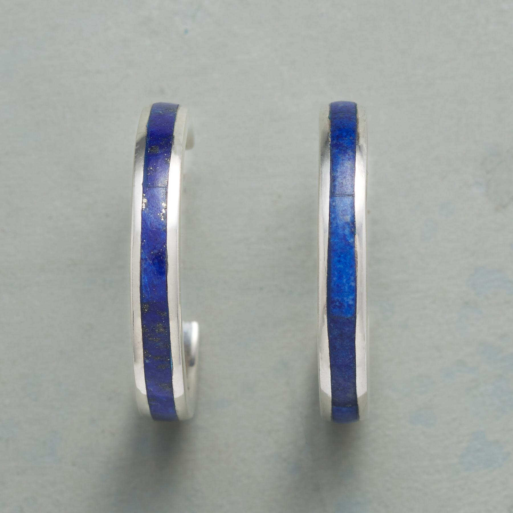 LINE OF LAPIS HOOP EARRINGS: View 1