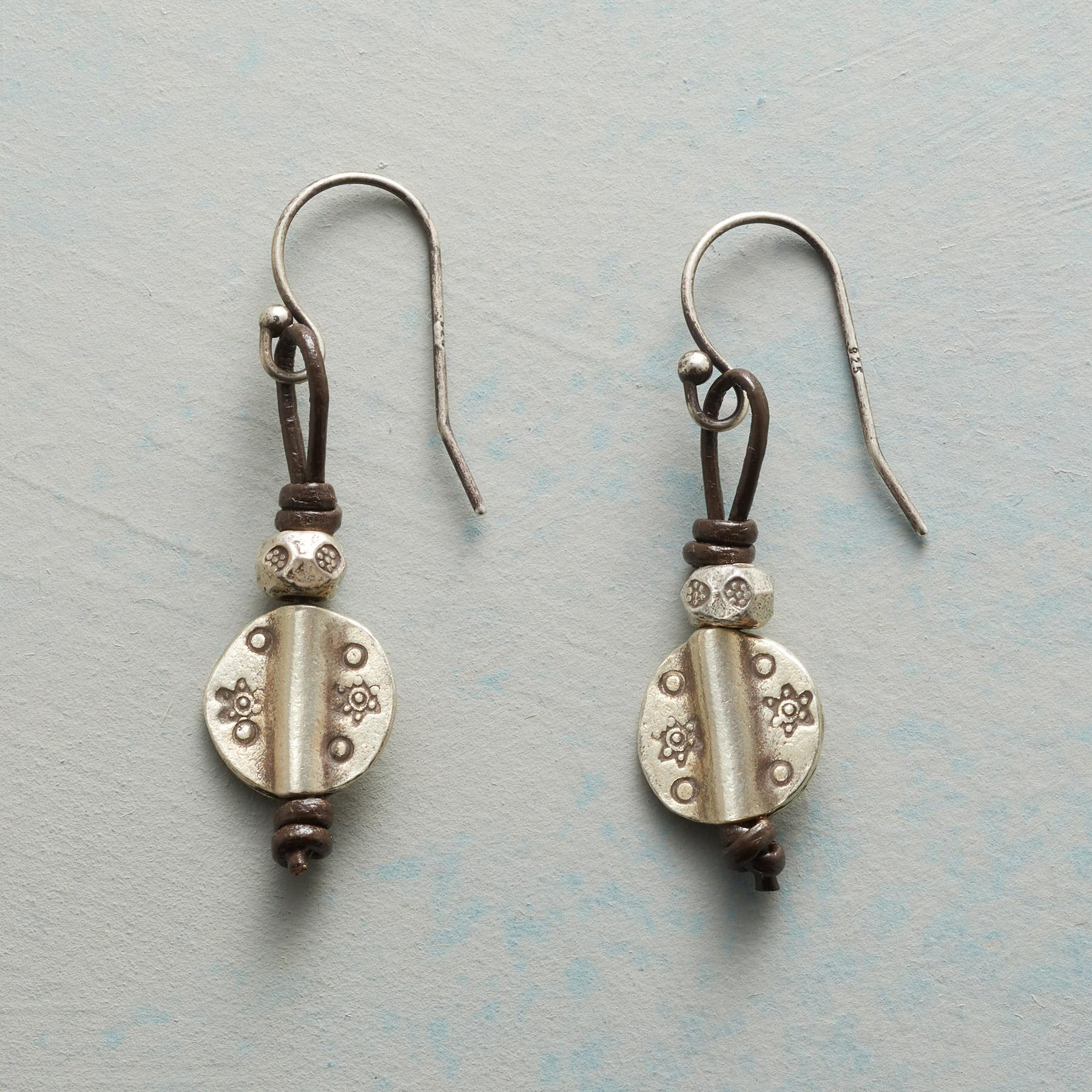 STAR STAMPED SILVER EARRINGS: View 1