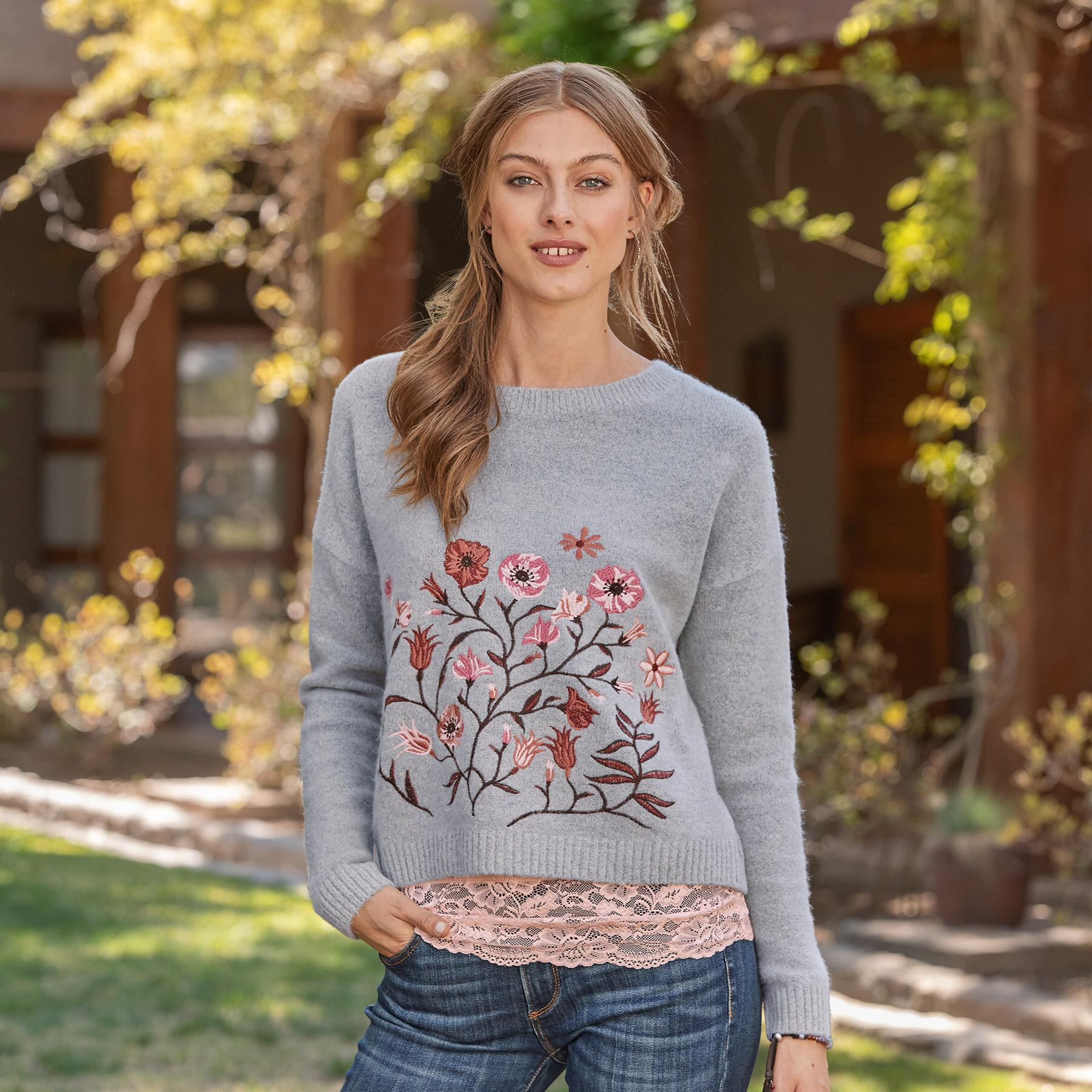 FLORAL EMBRACE SWEATER: View 1