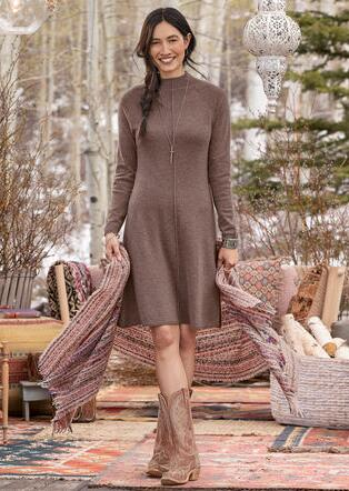 CRISSY CASHMERE BEAUTY DRESS - PETITES