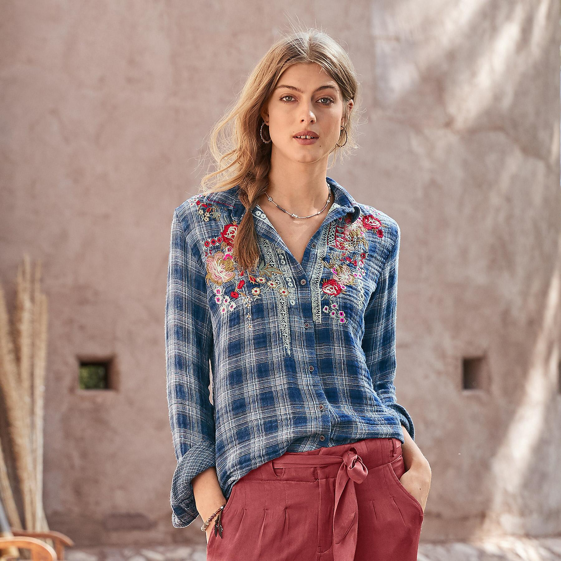 SOFTEST PLAID IN BLOOM SHIRT: View 1