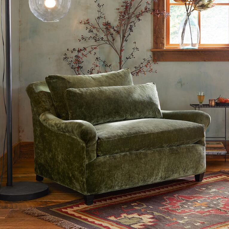 DYLAN VELVET CHAIR-&-A-HALF