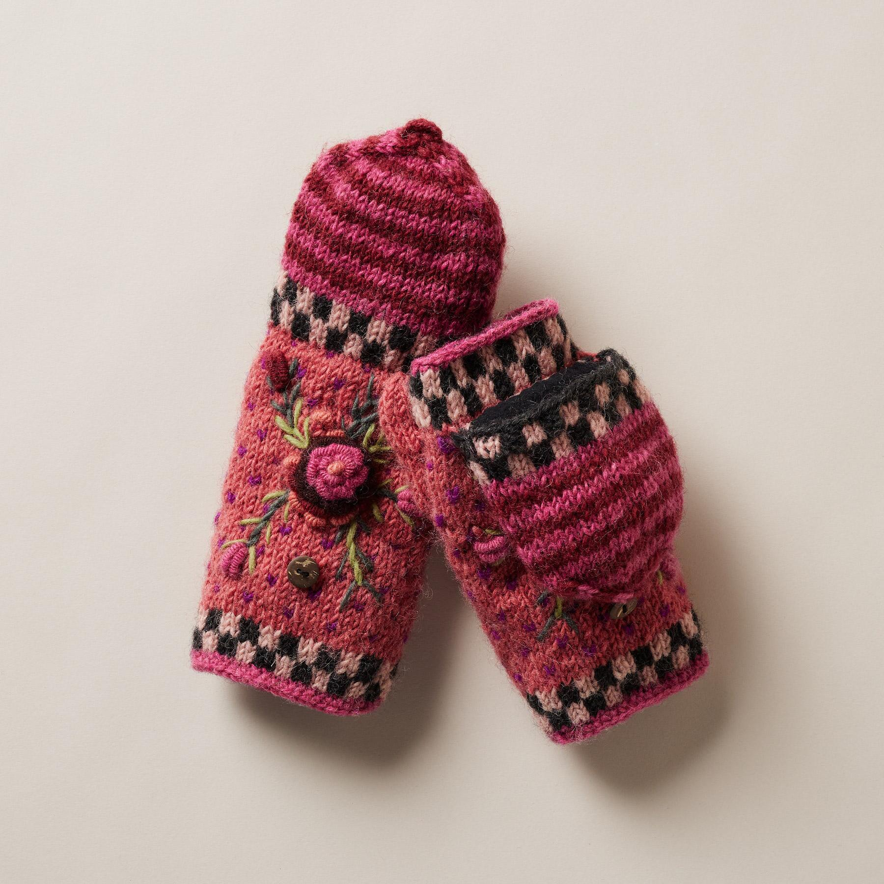 FROSTY BLOOMS CONVERTIBLE MITTENS: View 1