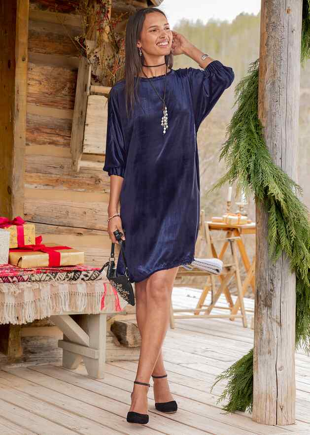 MIDNIGHT VELVET DRESS - PETITES