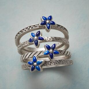 BLUE ASTER STACKING RINGS, SET OF 4