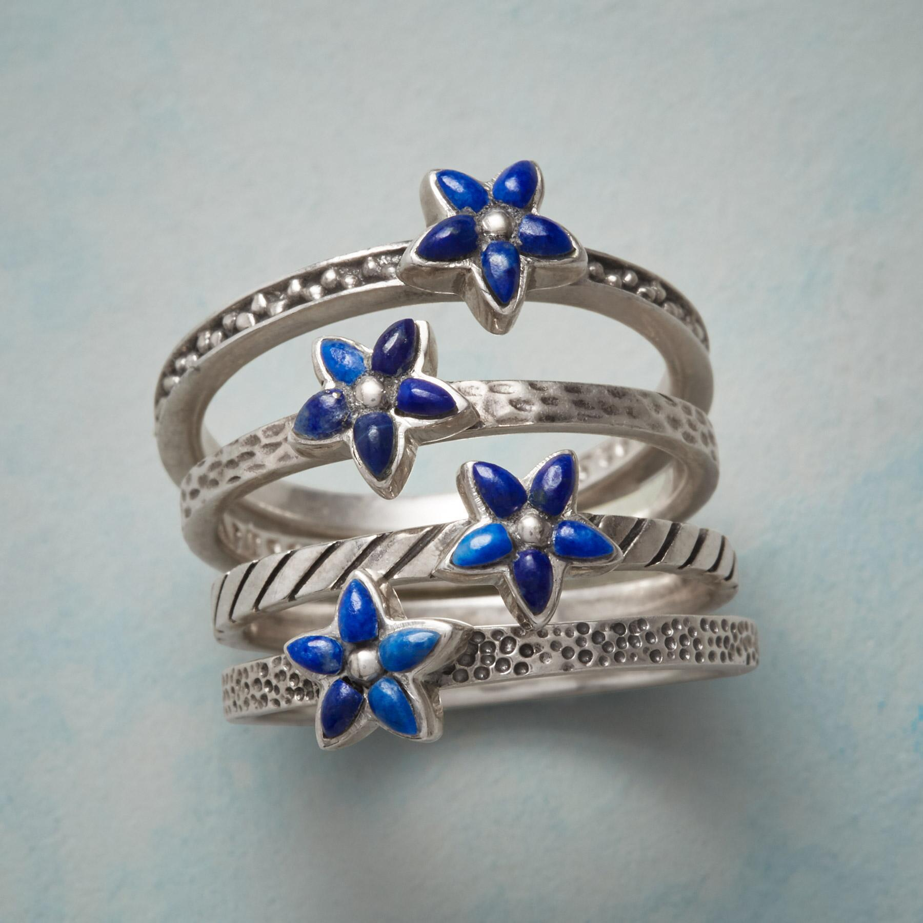BLUE ASTER STACKING RINGS, SET OF 4: View 1