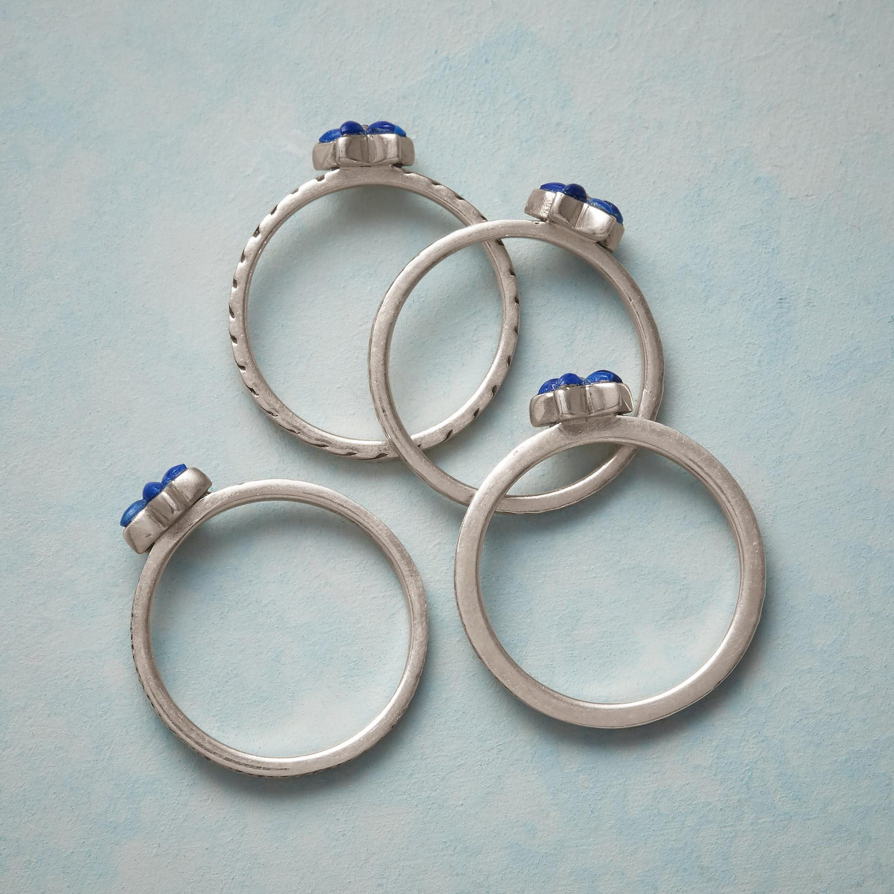 BLUE ASTER STACKING RINGS, SET OF 4: View 2