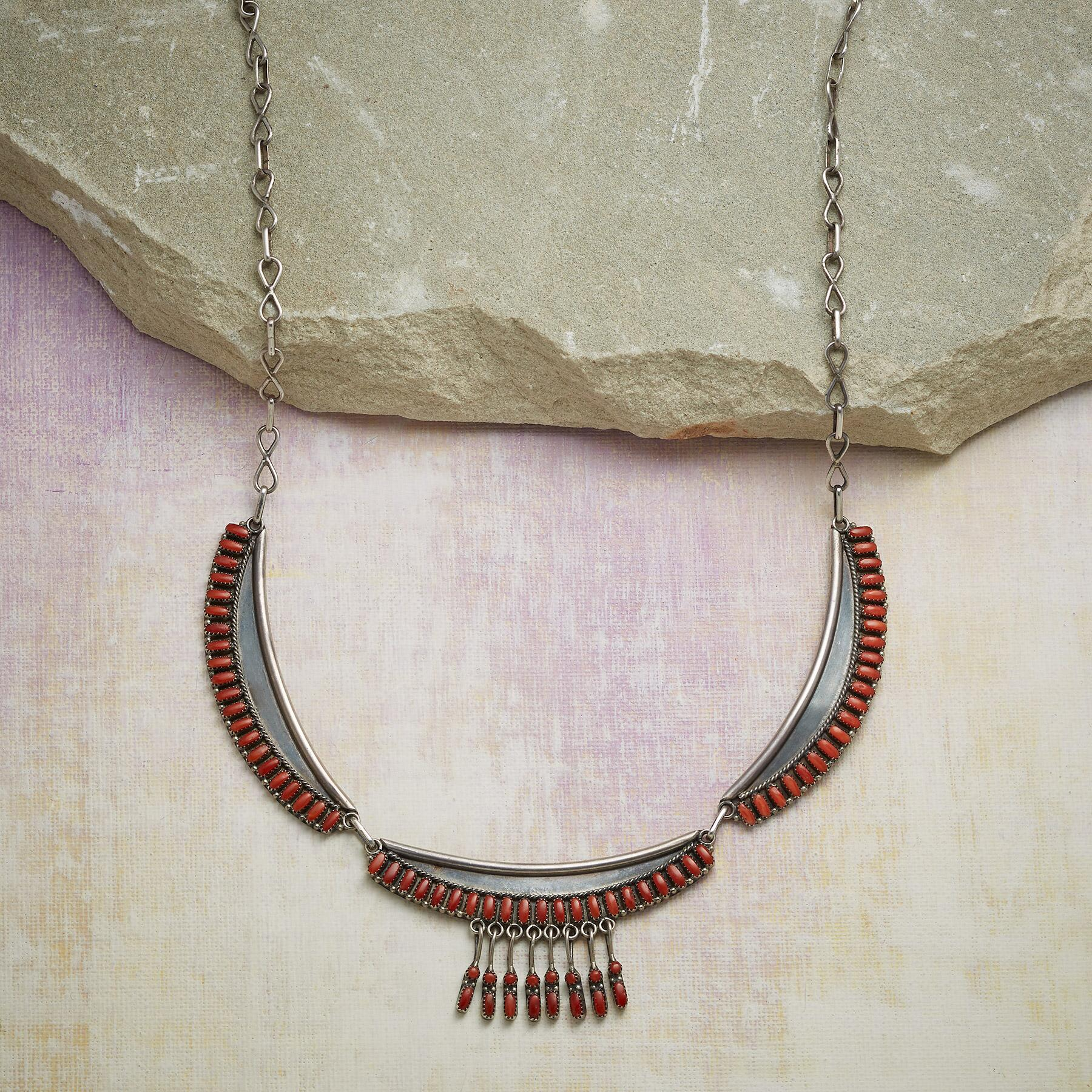 1950S ZUNI CORAL NECKLACE: View 1