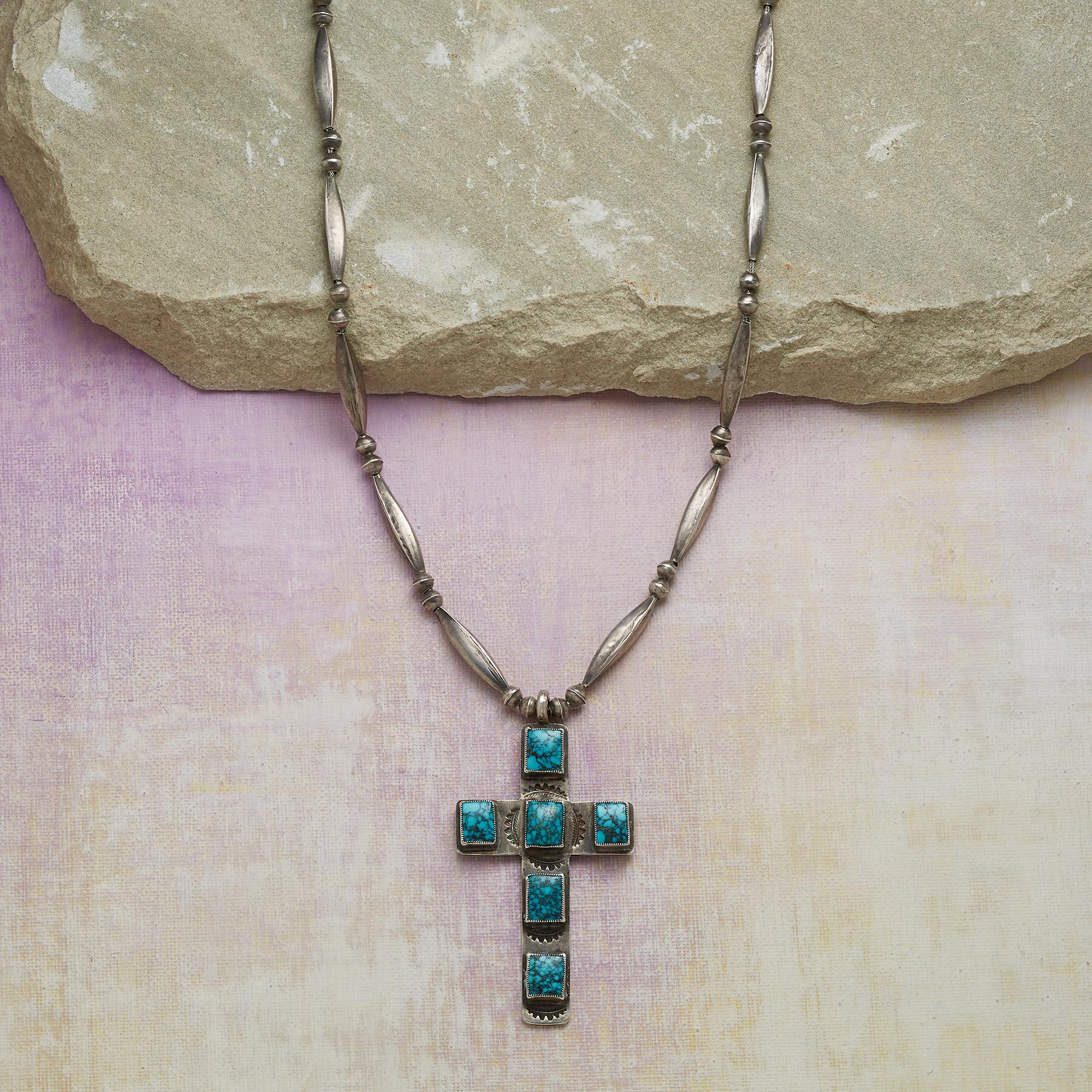 LONE MOUNTAIN TURQUOISE CROSS NECKLACE: View 1