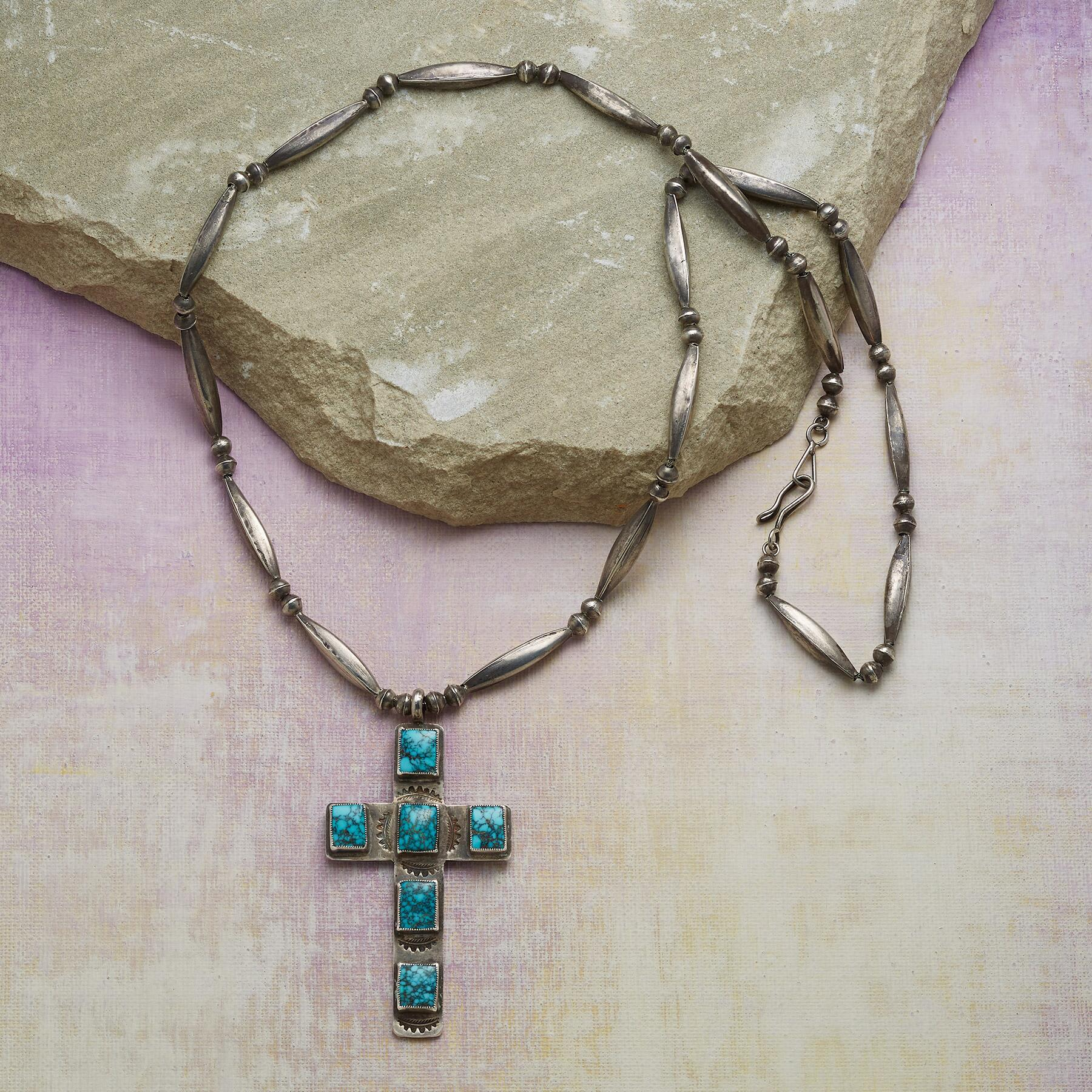 LONE MOUNTAIN TURQUOISE CROSS NECKLACE: View 2