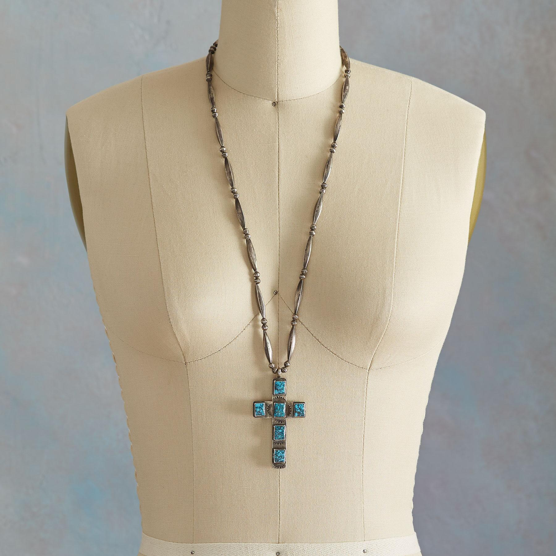LONE MOUNTAIN TURQUOISE CROSS NECKLACE: View 3