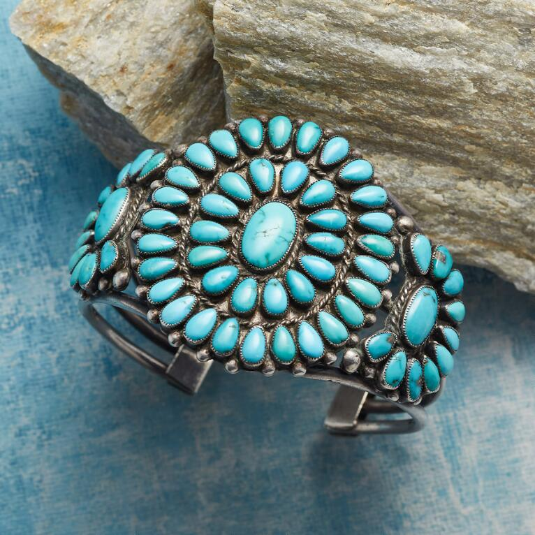 1950S FLOWERING TURQUOISE CUFF