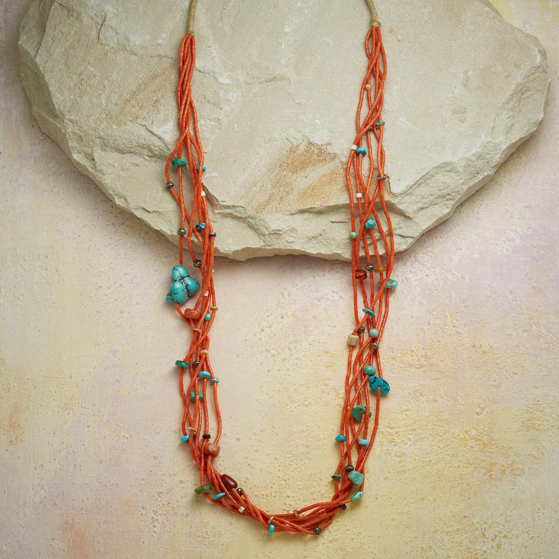 1950S CORAL & TURQUOISE NECKLACE: View 1