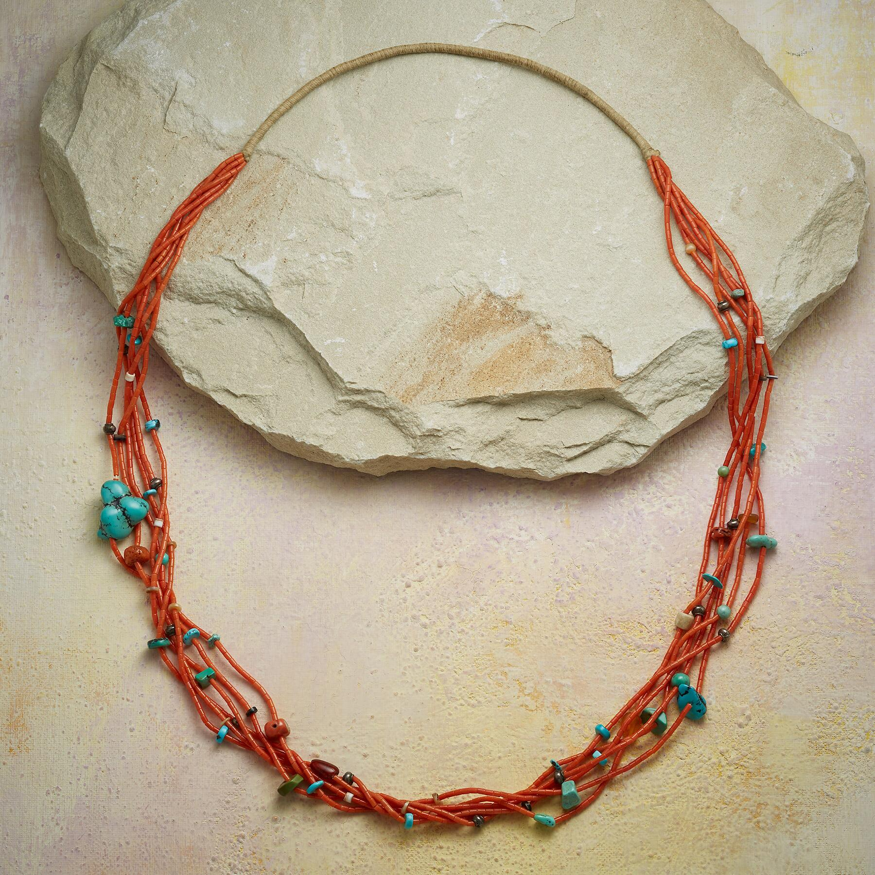 1950S CORAL & TURQUOISE NECKLACE: View 2