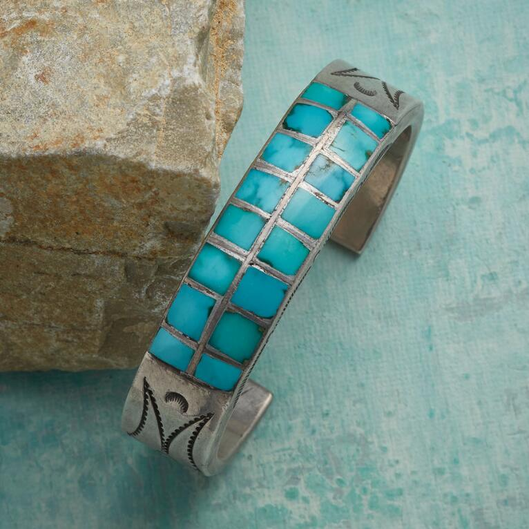 1950S INLAID BLUE GEM CUFF