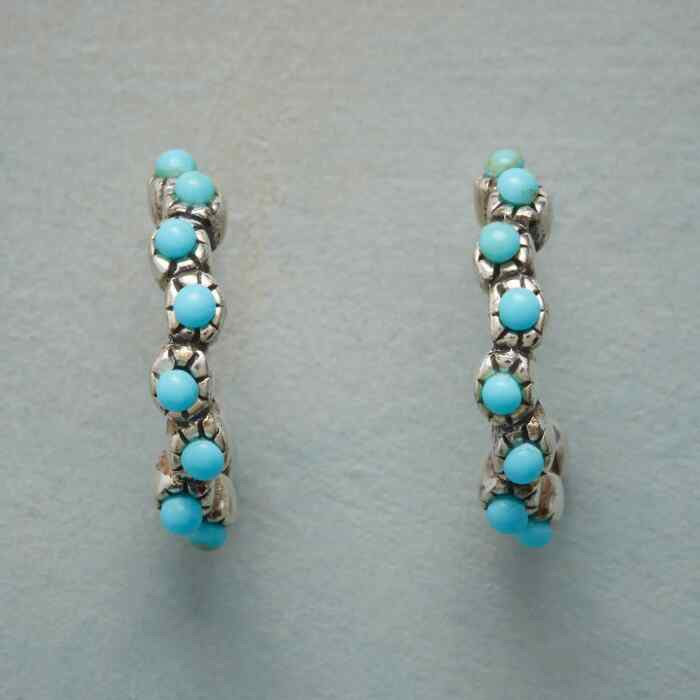 TURQUOISE FILIGREE HOOP EARRINGS
