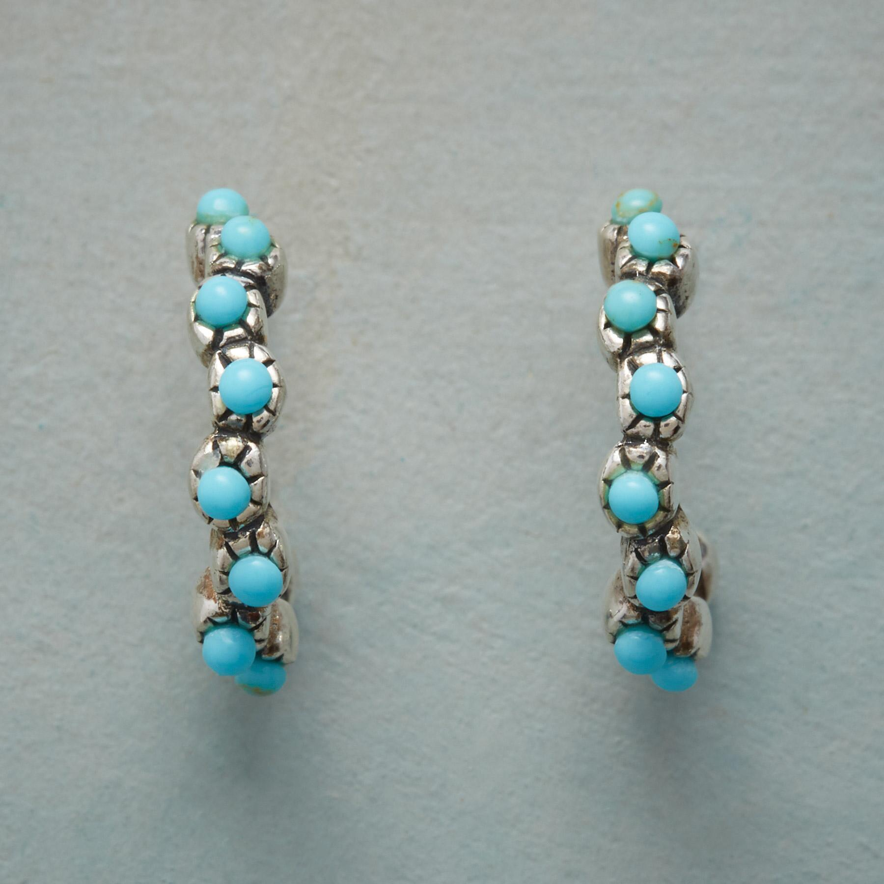 TURQUOISE FILIGREE HOOP EARRINGS: View 1
