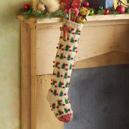 HEIRLOOM POMPOM TREES STOCKING