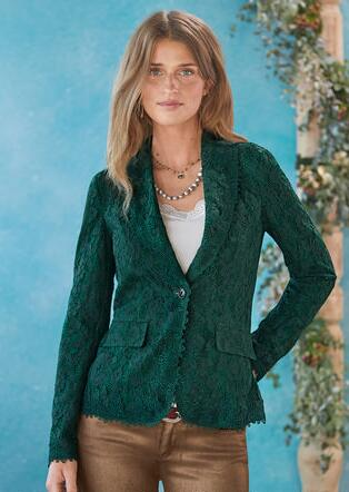 VERDE IN BLOOM LACE BLAZER - PETITES