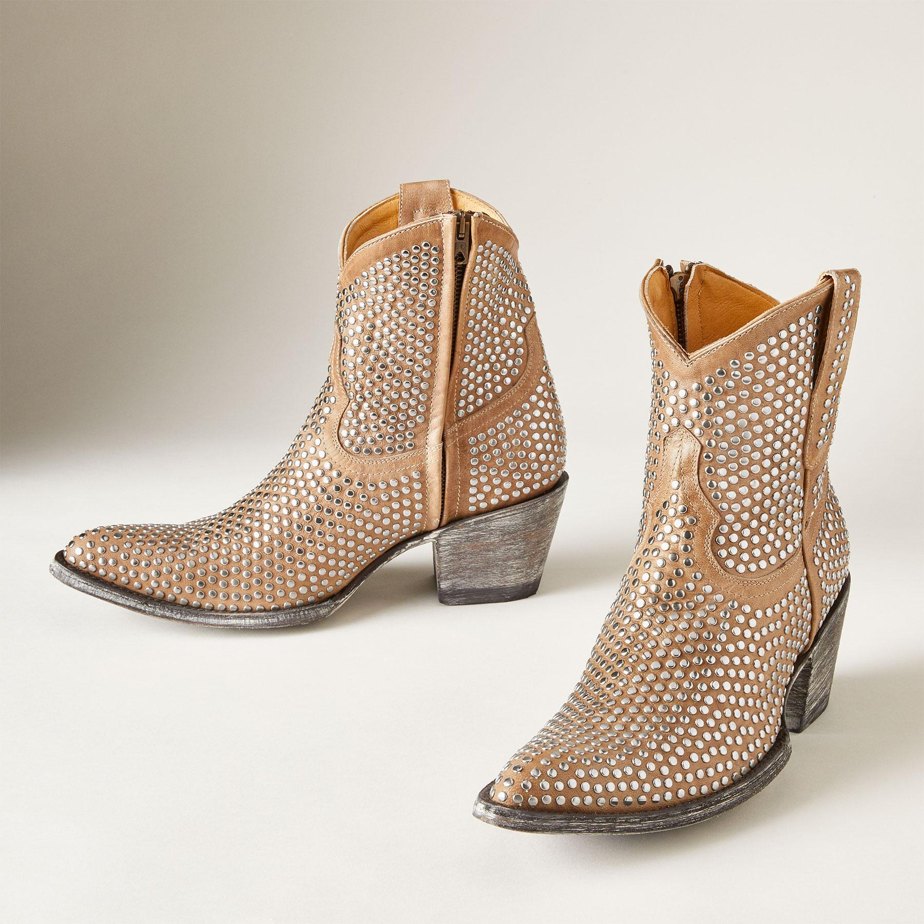 BONE STUDDED BOOTS: View 1