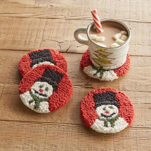 SNOWMAN COASTERS, SET OF 4